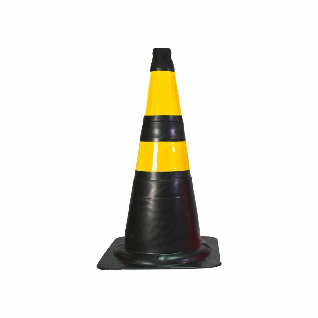 Cone Flexível (Emborrachado) – Preto/Amarelo Safe Park