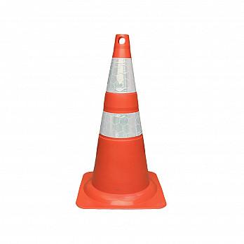 Cone Flexível (Emborrachado) – Laranja/Branco